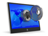 Tableta con clave sobre fondo blanco. imagen 3d aislada — Foto de Stock