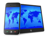 Phone and tablet on white background. Isolated 3D image — Stock Photo