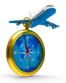 Compass and airplane on white background. Isolated 3D image — Stock Photo
