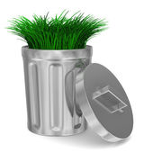 Garbage basket and grass on white background. Isolated 3D image — Stock Photo