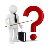 Men with pointer and question. Isolated 3d image — Stock Photo
