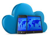 Tecnologia cloud su sfondo bianco. immagine 3d isolato — Foto Stock