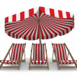 Three deckchair and parasol on white background. Isolated 3D ima — Stock Photo