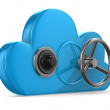 Cloud with lock on white background. Isolated 3D image — Stock Photo