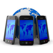 Phones and globe on white background. Isolated 3D image — Stockfoto