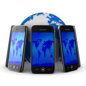 Telefones e globo em fundo branco. imagem 3d isolada — Fotografia Stock
