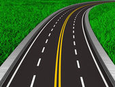 Asphalted road on grass. Isolated 3D image — Stock Photo