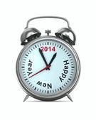 Año 2014 el despertador. imagen 3d aislada — Foto de Stock