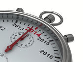 一年的日历上秒表。孤立的 3d 图像 — 图库照片
