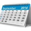 2014 year calendar. September. Isolated 3D image — Stock Photo