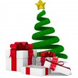Christmas tree and gift box on white. Isolated 3d image — Stock Photo