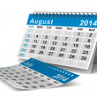 2014 year calendar. August. Isolated 3D image — Stock Photo