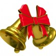Foto Stock: Two gold hand bell on white background. Isolated 3D image