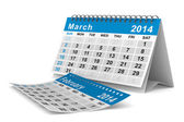 2014 year calendar. March. Isolated 3D image — Stock Photo