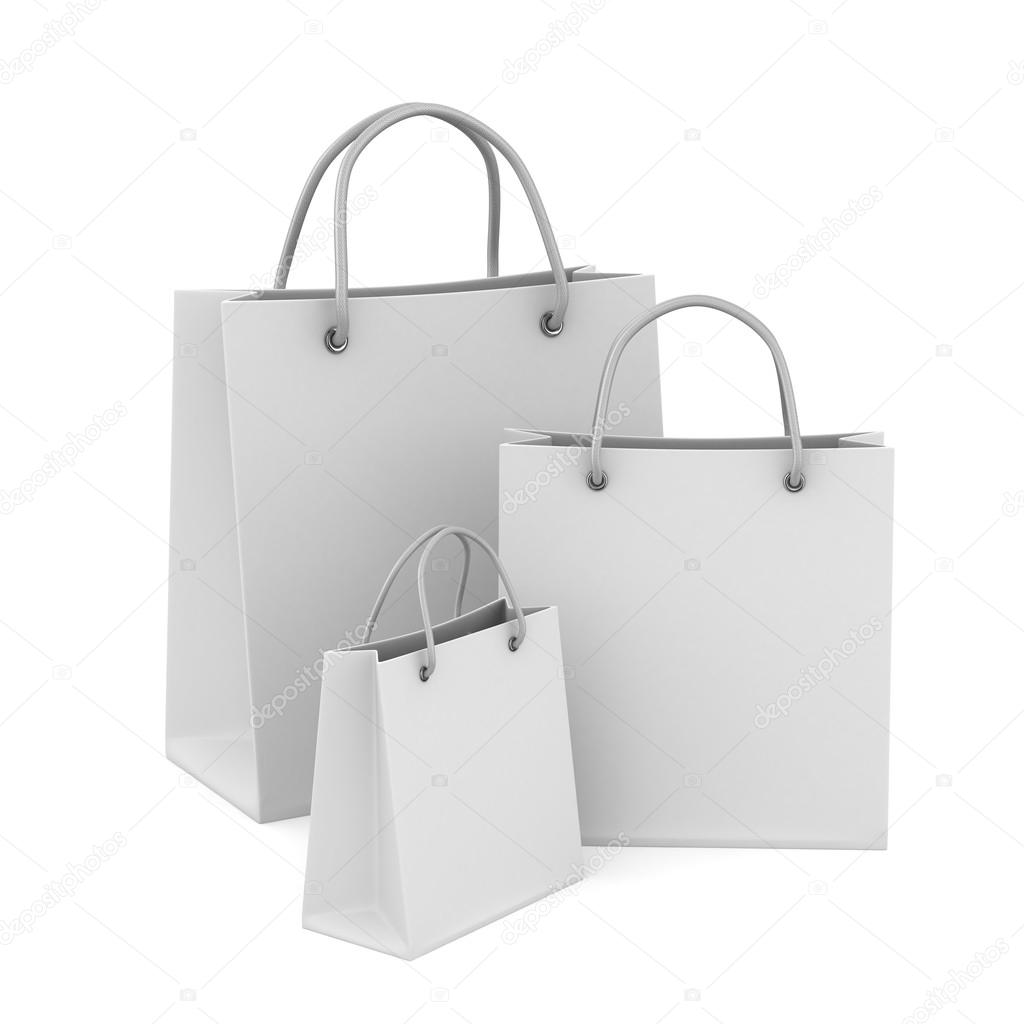 Three shoping bags on white. Isolated 3D image - Stock Image