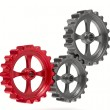 Stock Photo: Three gears on white background. Isolated 3D image