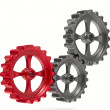 Three gears on white background. Isolated 3D image — Stock Photo
