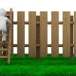 Man climbs on ladder through fence. Isolated 3D image — Stock Photo