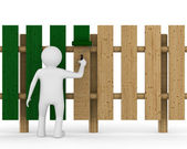 Man paints fence on white background. Isolated 3D image — Stock Photo