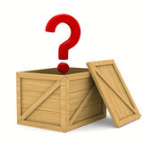 Empty wooden box and question. Isolated 3D image — Photo