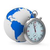 Stopwatch and globe on white background. Isolated 3D image — Photo