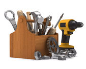 Wooden toolbox with tools. Isolated 3D image — Stock Photo