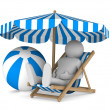 Man on deckchair and ball on white background. Isolated 3D image — Stock Photo