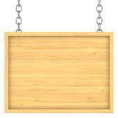Wooden signboard on the chains. Isolated 3D image — Stock Photo