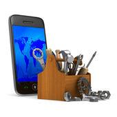 Phone service on white background. Isolated 3D image — Stockfoto