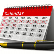 Calendar and pen on white background. Isolated 3D image — Stock Photo #48458235