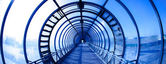 Interieur blauwe tunnel — Stockfoto