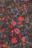černý čaj s sušených bobulí, textura — Stock fotografie