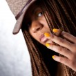 Girl with a cigar — Stock Photo