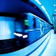 Train arrives at the subway station — Stock Photo