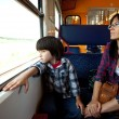 Mother and son travel in the train — Stock Photo