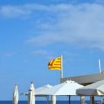 White umbrellas and the flag of Catalunya — Stock Photo