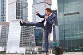 Businessman strikes — Stock Photo
