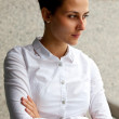 Businesswoman in a white blouse — Stock Photo