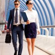Businesswoman and a bodyguard — Stock Photo