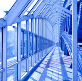 Blue interior covered bridge — Stock Photo