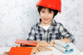 Boy plans to build a house — Stock Photo