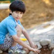 Boy builds a house — Stock Photo #47853261