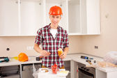 Repairman dines — Stock Photo