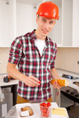 Workman dines — Stock Photo