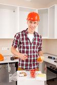 Repairman dines — Zdjęcie stockowe