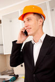 Engineer talking on the phone — Stock Photo