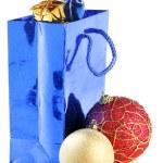 Gift bag and christmas balls — Stock Photo #1431370