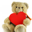 Teddy bear with red heart — Stock Photo #1440900