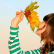 Girl with maple leaves — Stock Photo #1441553