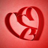 Corações de papel vermelho — Fotografia Stock